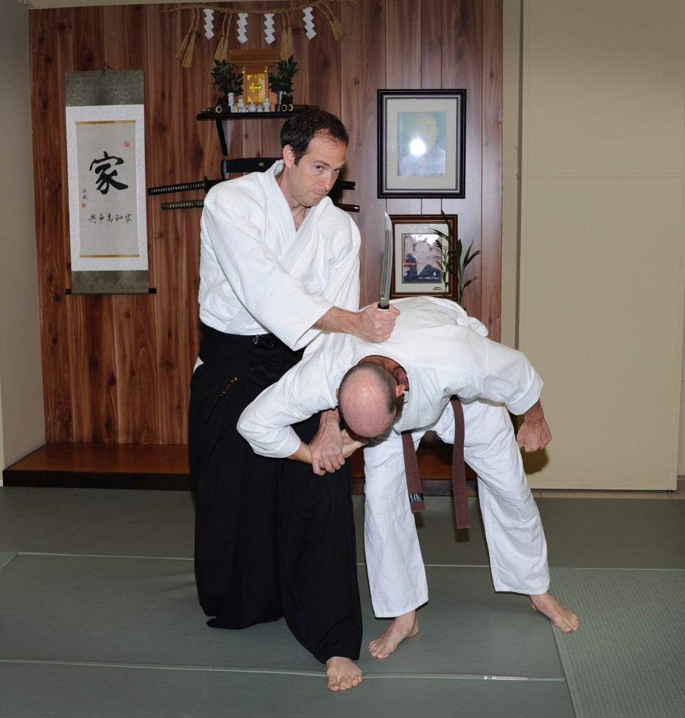 George Smith performing a knife disarm. May 2, 2017. OkuGake Jujutsu